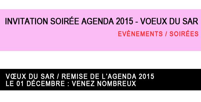 Invitation soirée Agenda 2015 - Voeux du SAR